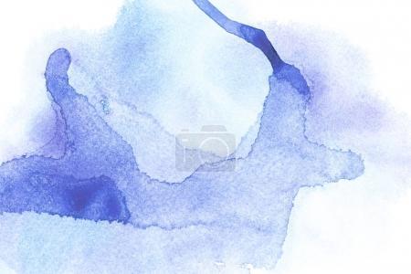 Photo pour Peinture abstraite avec des taches de peinture aquarelle bleue sur blanc - image libre de droit