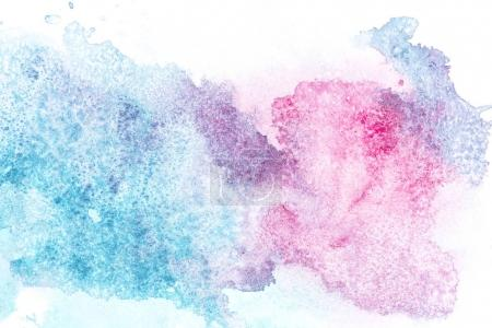 Photo for Abstract painting with pink and blue paint spots on white - Royalty Free Image