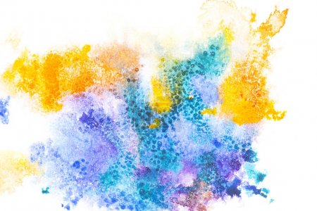 Photo for Abstract painting with colorful paint spots on white - Royalty Free Image