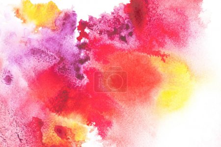 Photo for Abstract painting with colorful paint blots on white - Royalty Free Image