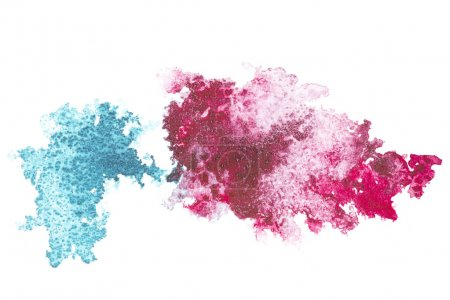 Photo for Abstract painting with blue and pink paint blots on white - Royalty Free Image