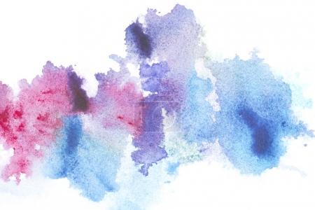 Photo for Abstract painting with bright blue and pink paint blots on white - Royalty Free Image