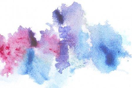 Photo pour Peinture abstraite avec des taches lumineuses peinture bleu et rose sur blanc - image libre de droit