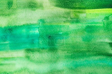 Abstract painting with bright green paint strokes, full frame