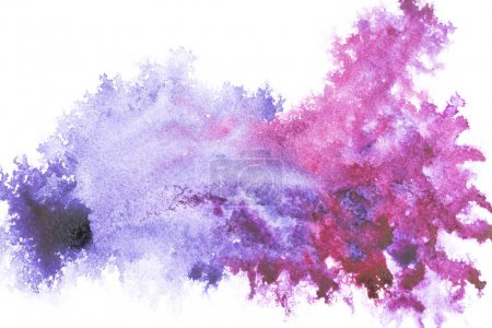Photo for Abstract painting with bright blue and purple paint spots on white - Royalty Free Image