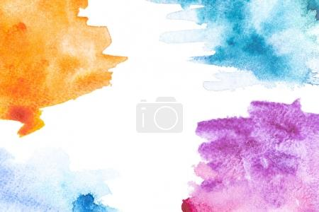 Photo for Abstract painting with orange, blue and purple paint strokes on white - Royalty Free Image