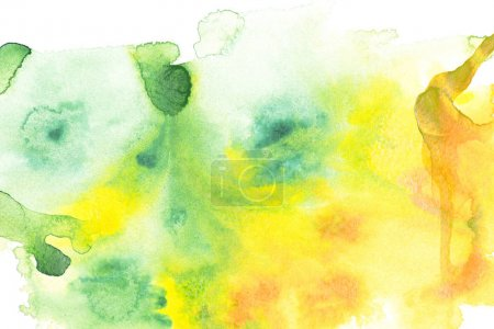 Abstract painting with yellow and green paint blots on white