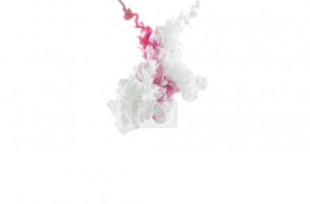 Photo for Close-up view of pink paint splashes isolated on white - Royalty Free Image