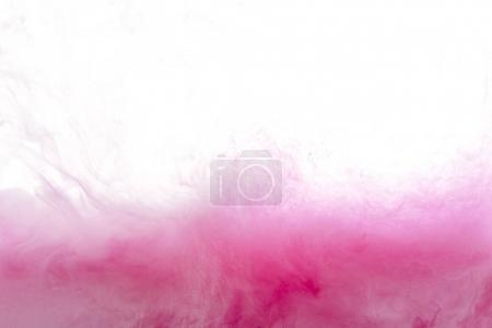 Photo for Close up view of pink ink splash isolated on white - Royalty Free Image