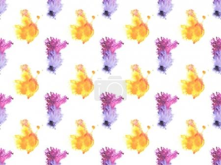 seamless pattern with colorful watercolor paint spots, isolated on white