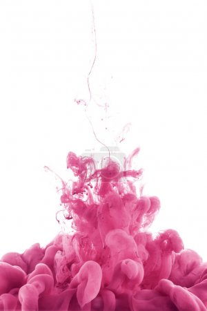 close up view of pink paint splash in water, isolated on white