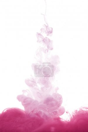 pink paint splash in water, isolated on white