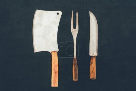 top view of rustic cutlery composition