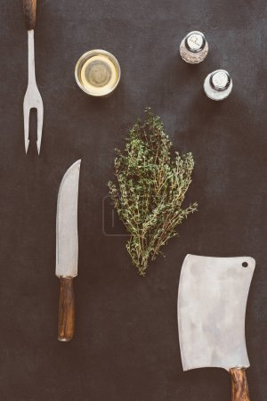 top view of composition of spices and cutlery