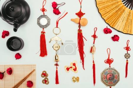 top view of traditional chinese stuff isolated on white, Chinese New Year concept