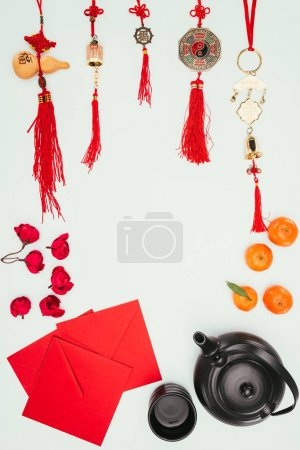 top view of chinese new year composition isolated on white