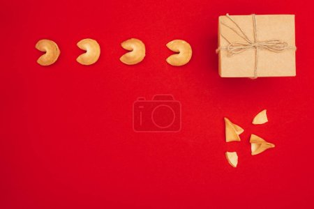 top view of chinese fortune cookies and handmade giftbox, Chinese New Year concept