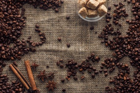 roasted coffee beans with cinnamon sticks, star anise and brown sugar in glass bowl on sackcloth
