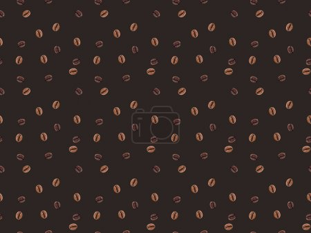 top view of seamless pattern made from coffee beans isolated on brown