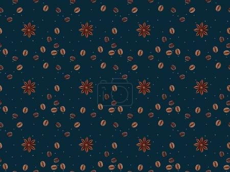 top view of seamless pattern with coffee beans and anise stars isolated on dark blue background