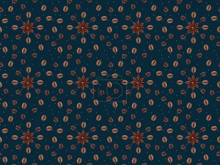 seamless pattern with coffee beans and anise stars isolated on dark blue background