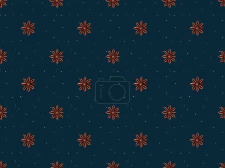 top view of seamless pattern from anise stars isolated on dark blue background