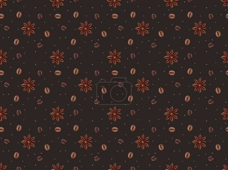 seamless pattern with coffee beans and anise stars isolated on brown