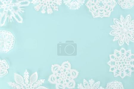Photo for Christmas frame with decorative snowflakes, isolated on light blue - Royalty Free Image