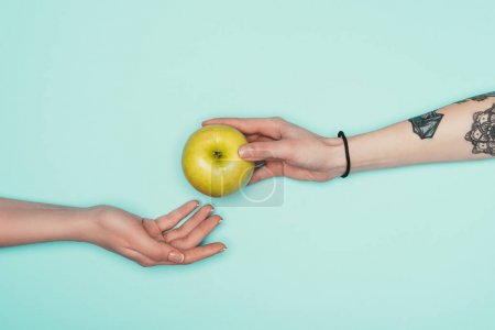 cropped shot of women passing fresh apple isolated on turquoise