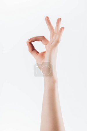 cropped shot of woman showing okay sign isolated on white
