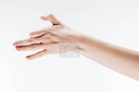 cropped shot of woman making dog gesture with hand isolated on white