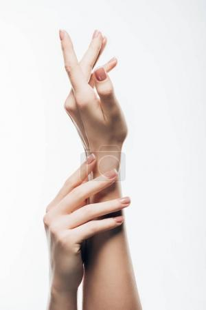 cropped shot of female hands with beautiful nails isolated on white