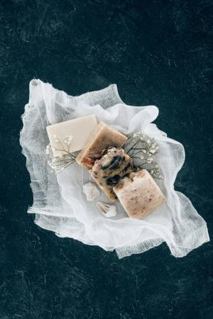 top view of natural homemade soap on gauze
