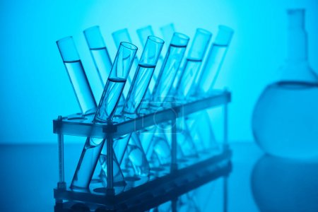 glass tubes with liquid on stand for chemical analysis in laboratory on blue