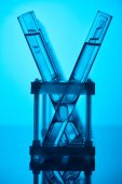 rows of glass tubes with liquid on stand on blue