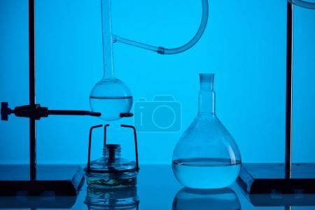 chemical test with substance in laboratory on blue
