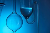 chemical analysis in laboratory isolated on blue