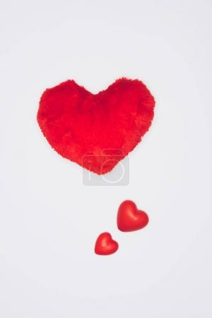 red hearts as valentines day composition isolated on white, st valentines day concept