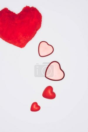 top view of valentines holiday composition isolated on white, st valentines day concept