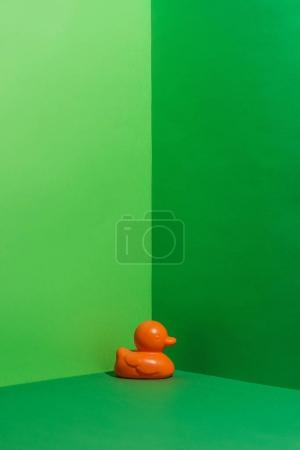 childs orange rubber duck toy on green