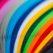 Close up of colored bright quilling paper stripes...