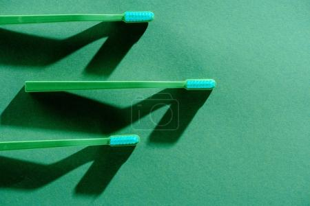 top view of green toothbrushes, on green