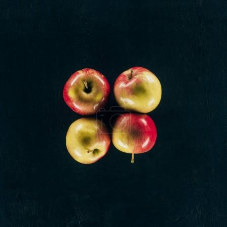 Photo for Top view of arranged fresh apples isolated on black - Royalty Free Image
