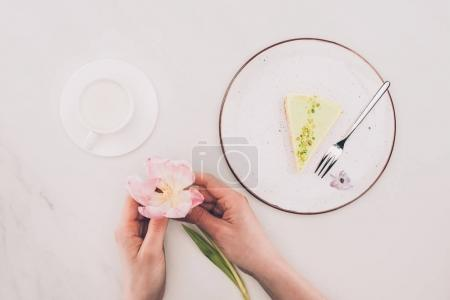 Photo for Partial view of female hands with flower, cup of milk and piece of cake on plate - Royalty Free Image