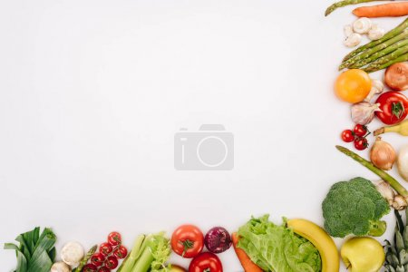 Photo for Top view of vegetables and fruits isolated on white, grocery concept - Royalty Free Image
