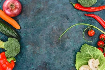 top view of fresh healthy vegetables on black