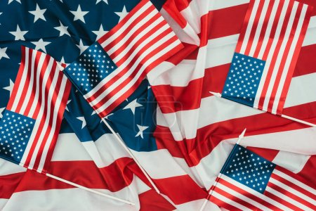 close up view of arranged american flags, presidents day concept