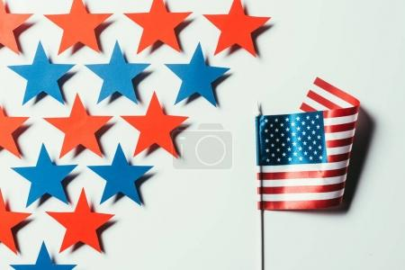 top view of stars and american flag isolated on white, presidents day concept