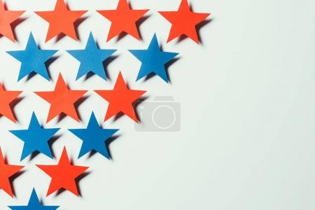 top view of arranged stars isolated on grey, presidents day concept