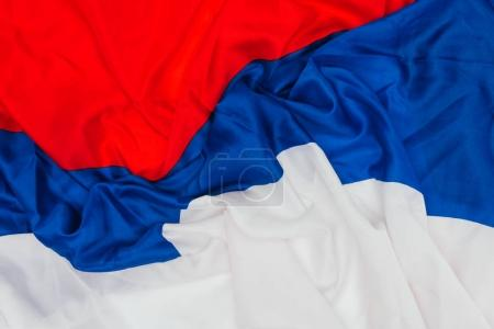 close up view of folded russian flag background